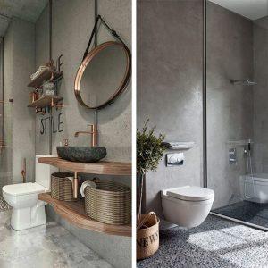 10 banheiros pequenos, modernos em tons de cinza para você se inspirar!